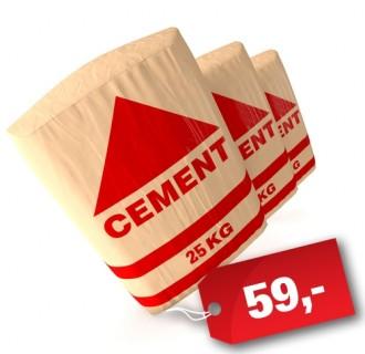 Cement 25 kg pytel za cenu 59,- Kč s DPH